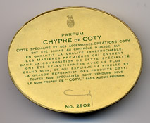 Detail of bottom of box for Coty's Chypre perfume