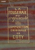 Presentation box detail for Coty's La Fougeraie au Crepuscule perfume